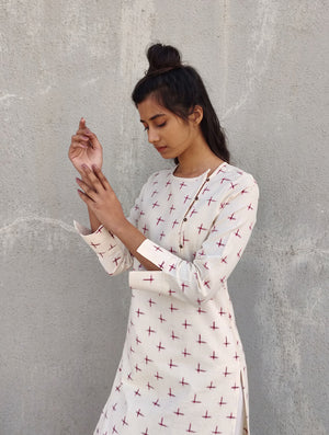 White & Red Handwoven Cotton Ikat Kurta