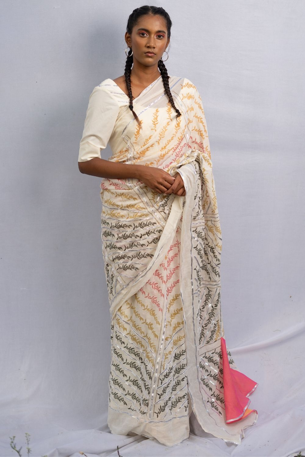 Peppercorn Chevron Saree