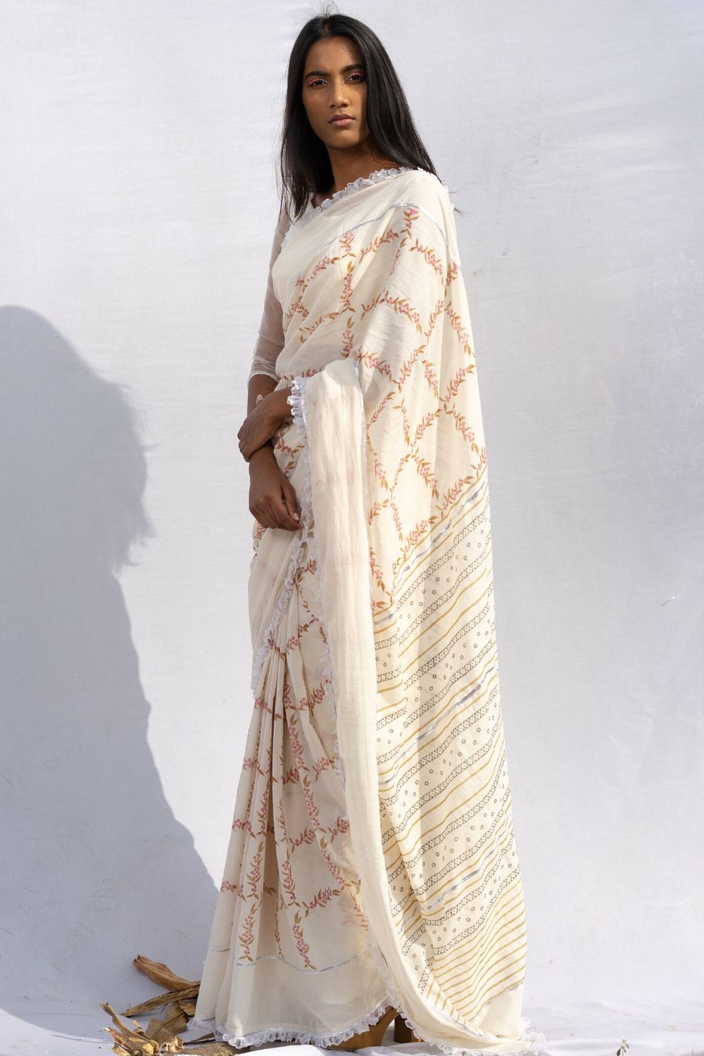 Chequered Peppercorn Saree