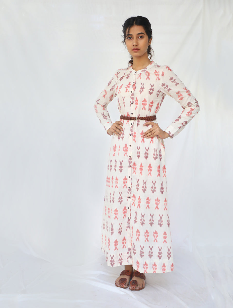 White & Brown Handwoven Cotton Ikat Dress