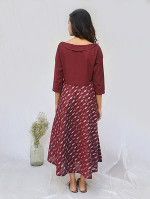 Maroon Handwoven Cotton Ikat Dress