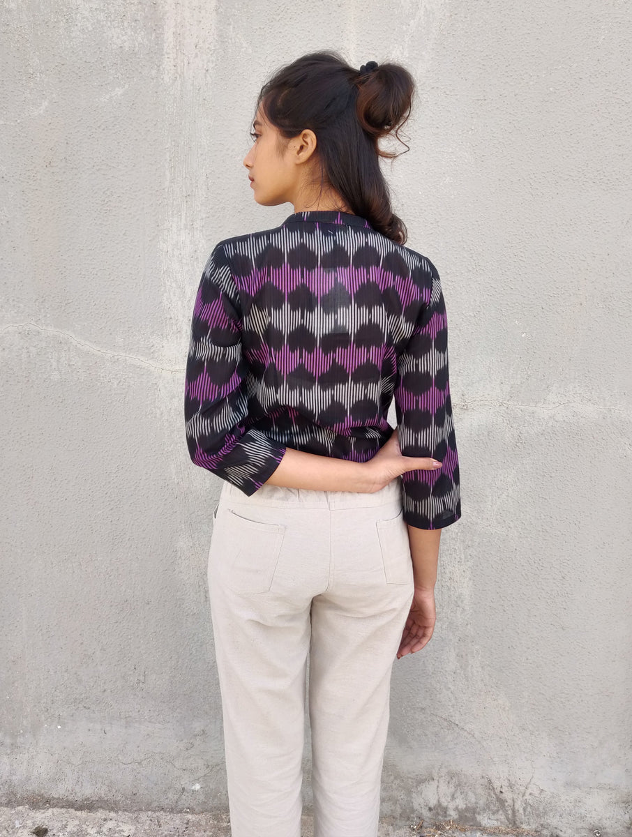Black Handwoven Cotton Ikat Shirt