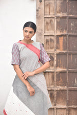 Multicolor Handwoven Cotton Dress with Ikat Detailing
