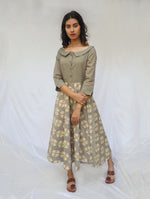 Brown Handwoven Cotton Ikat Dress