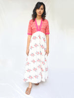 Pink and White Handwoven Cotton Ikat Dress