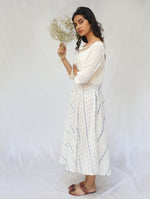 White Handwoven Cotton Ikat Dress