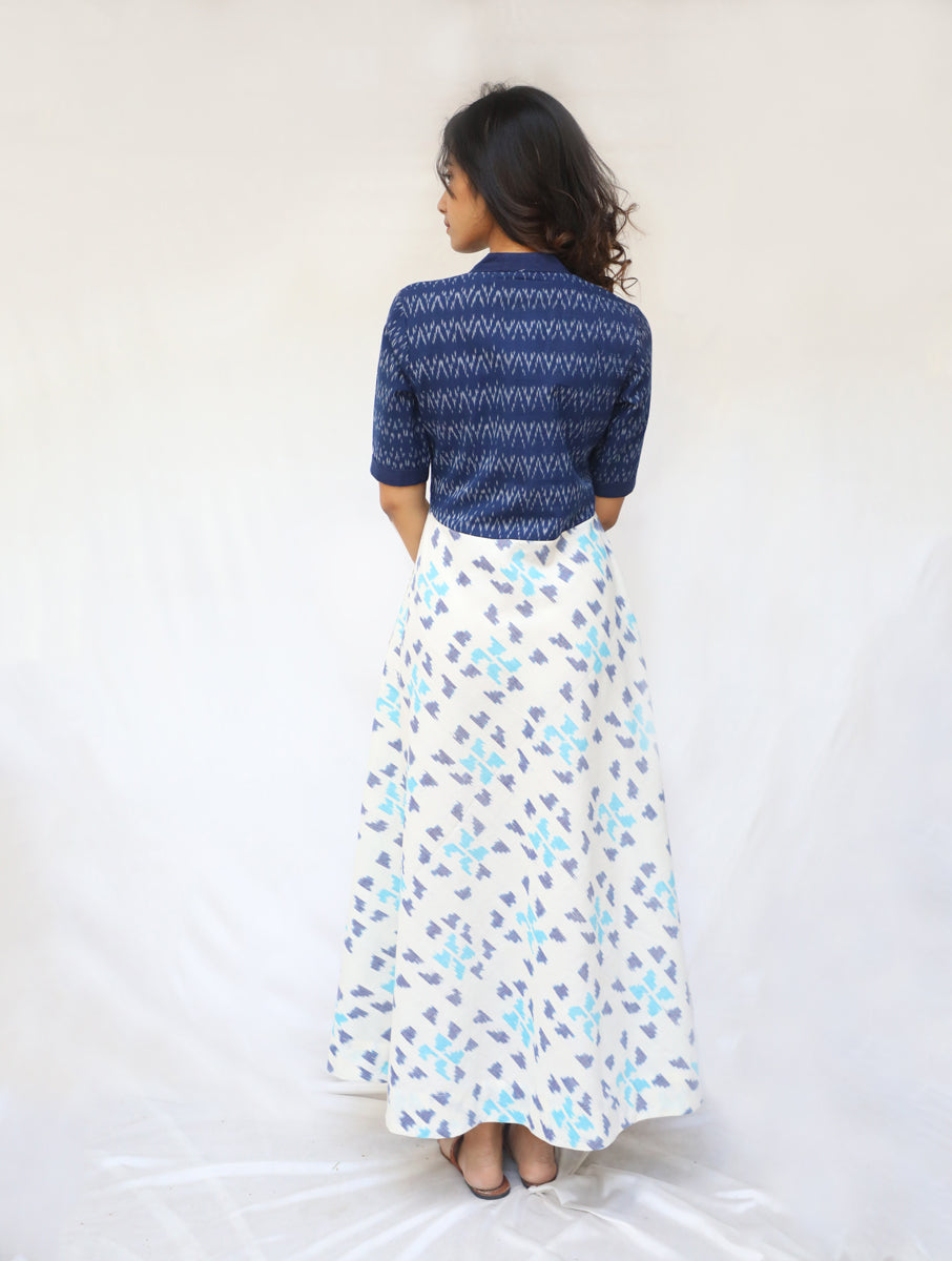 Blue and White Handwoven Cotton Ikat Dress