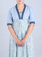 Printed Sky Blue long Dress with Katha Stich detailing