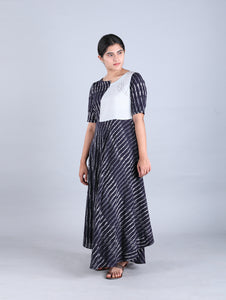 Blue Striped Long Dress with Katha Stich