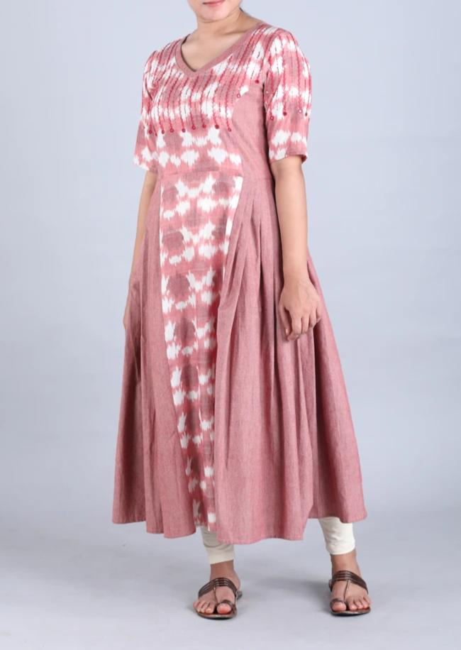 Dusky Pink Handwoven Cotton Kurta with Ikat Detailing and Mirror Work