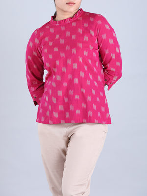Magenta Ikat handwoven cotton Shirt