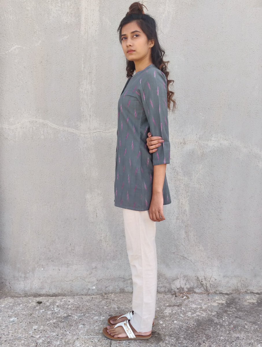 Grey Handwoven Cotton Ikat Shirt
