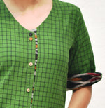 Green Handwoven Cotton dress with Ikat Detailing