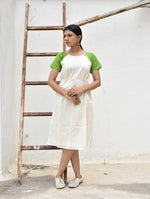 White & Green Handwoven Ikat & Chanderi Dress
