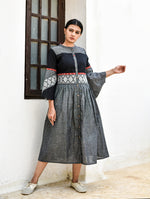 Grey & Black Handwoven Cotton Dress with Ikat Detailing