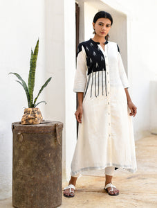 Black & White Handwoven Cotton Dress with Ikat Detailing
