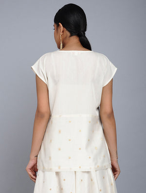 White Chanderi Jac Top and Skirt Set