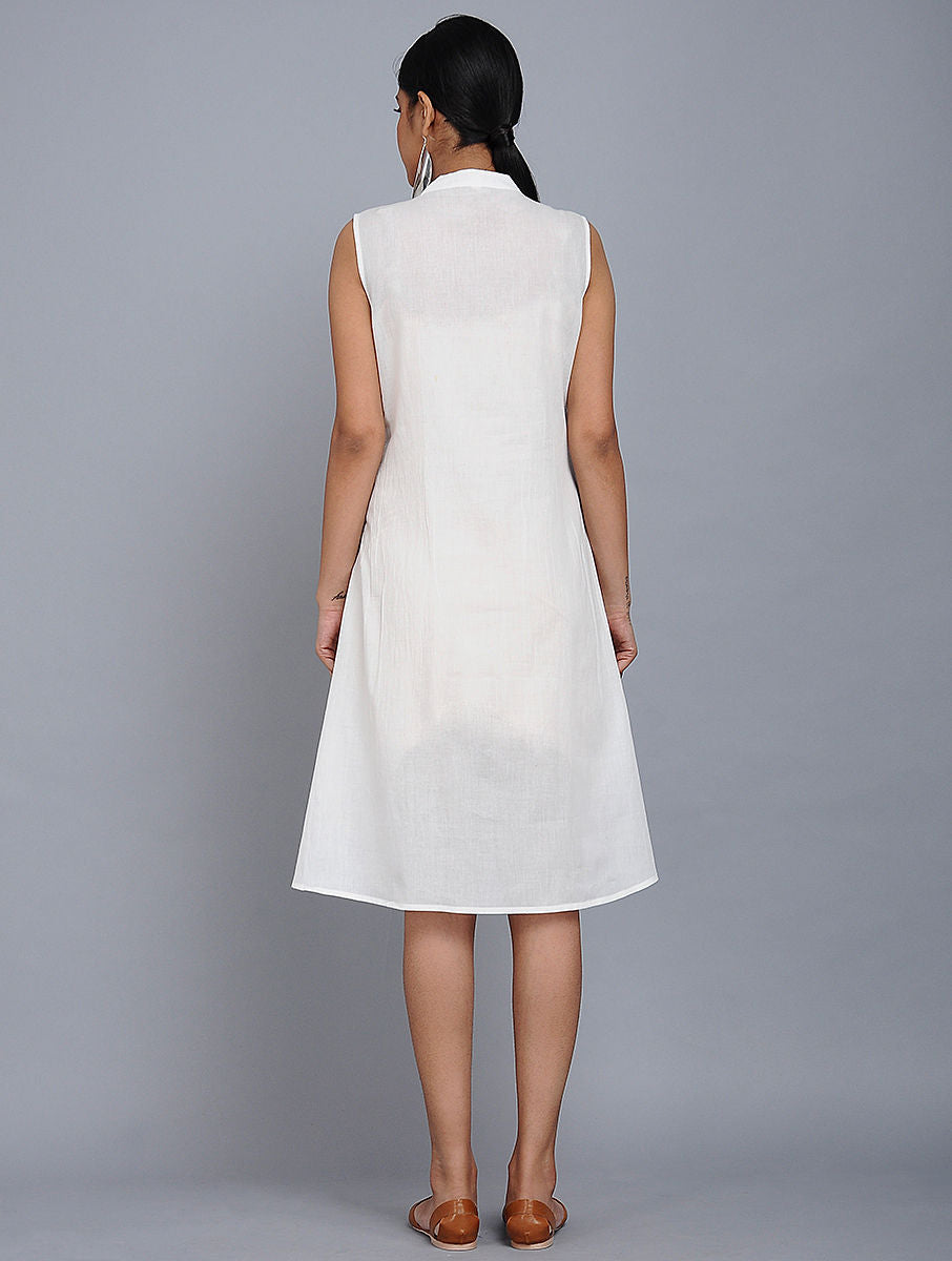 White Cotton Mull Box Pleat Dress