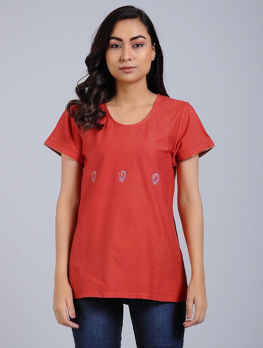Red Cotton Jersey Top with Hand Embroidery