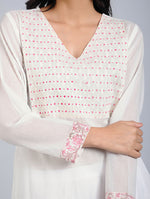 White Cotton Mull Kurta with Cutwork Trims