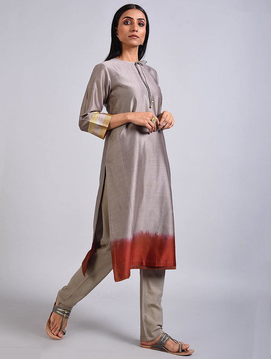 Grey Chanderi Dip Dyed Kurta Set