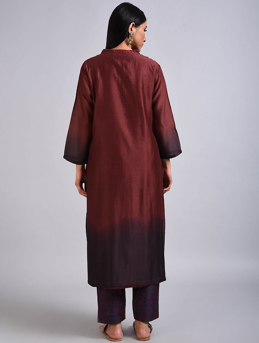 Maroon Chanderi Dip Dyed Kurta with Tanchoi Pants Set
