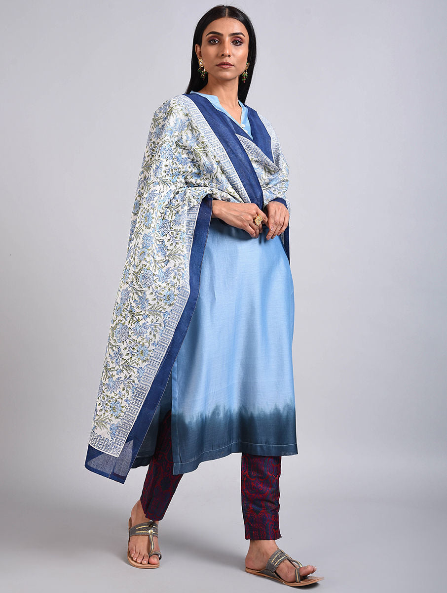 Blue Chanderi Dip Dyed Kurta with Block Printed Dupatta Set