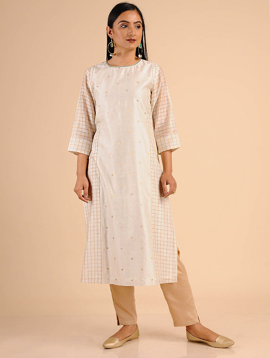 Ivory Chanderi Handwoven Checks and Jac Kurta Set