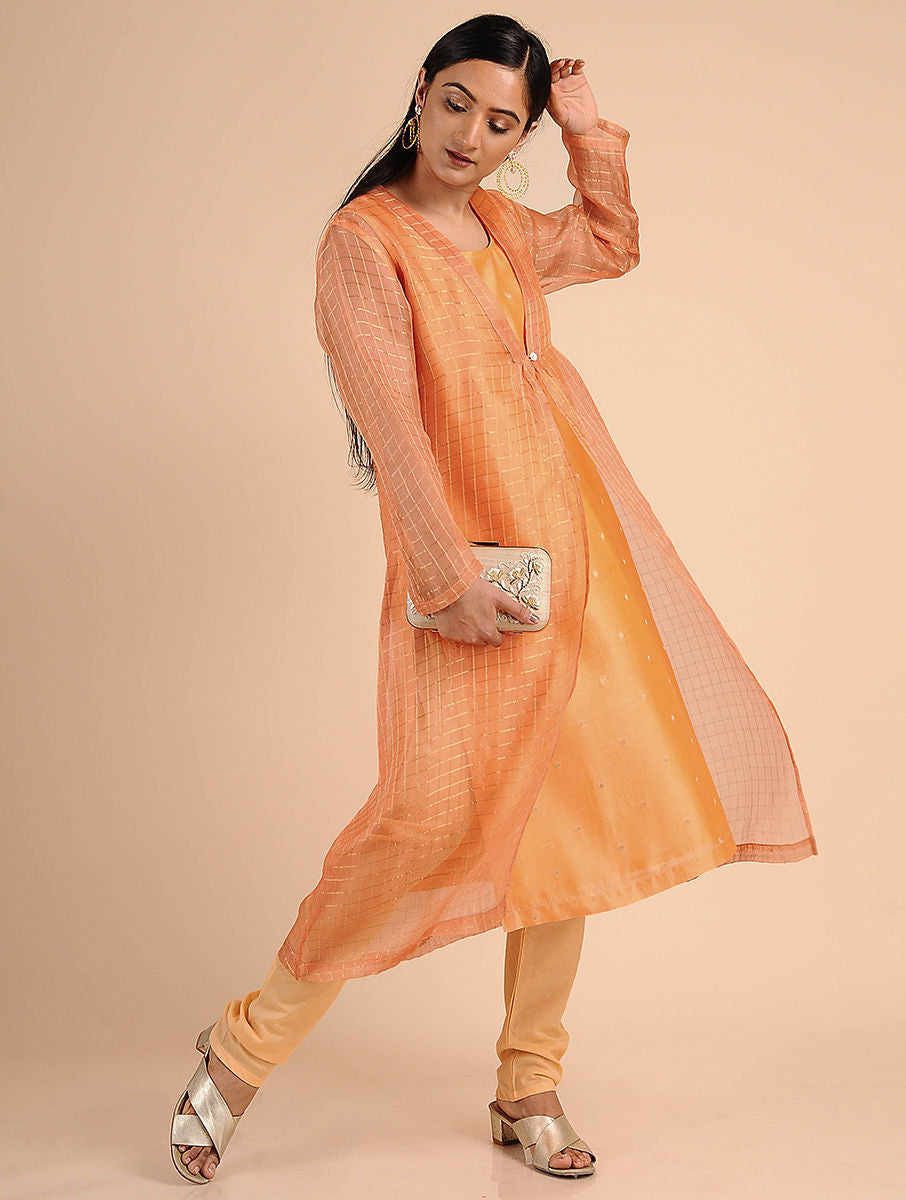 Orange Chanderi Jac Kurta Set With Shrug