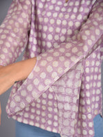 Purple Cotton jersey and Chanderi Block Printed Top