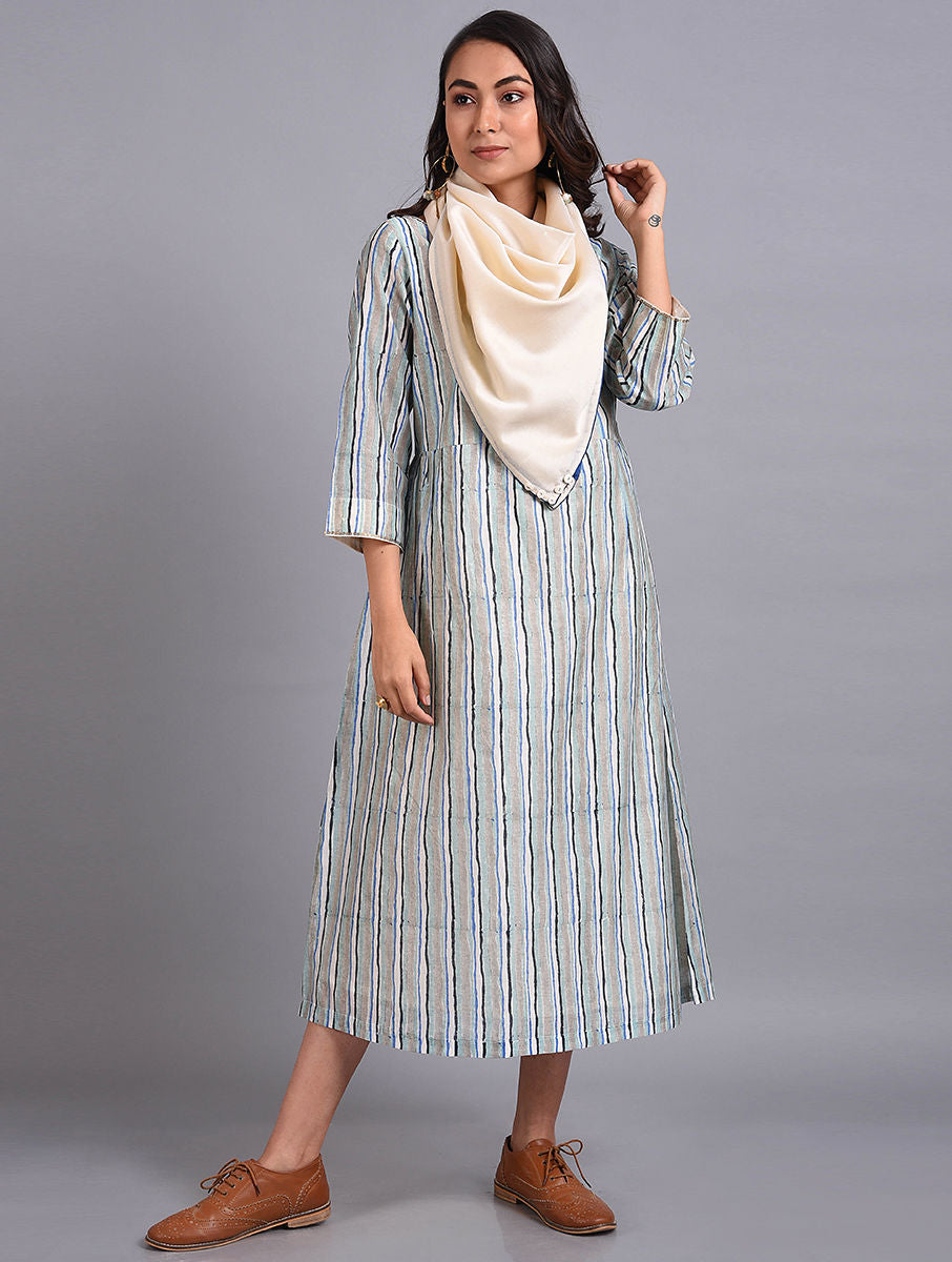 Blue Chanderi Handblock printed Dress with Square Scarf
