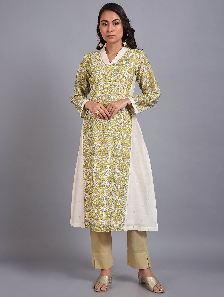 Yellow and White Chanderi Hand-Block Printed Kurta Set With Dupatta