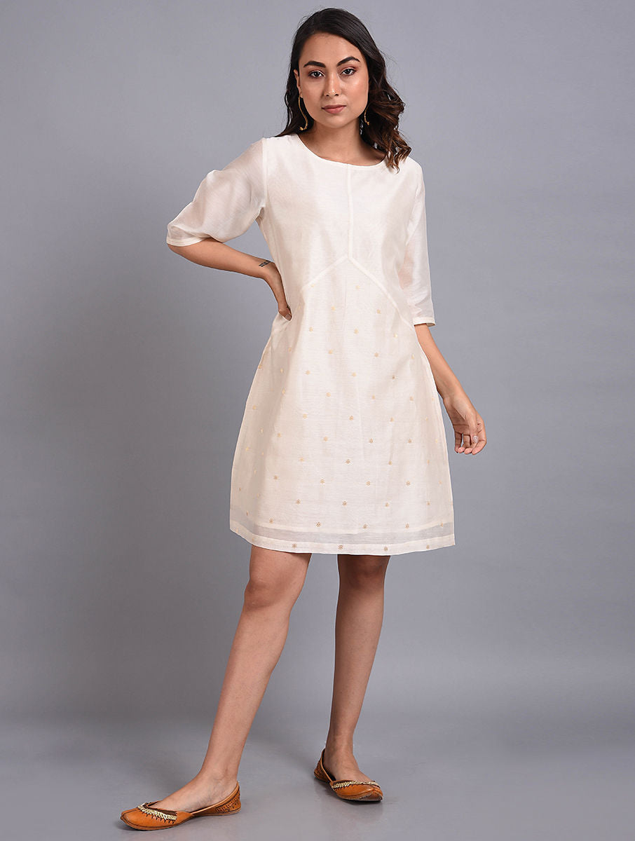 White Chanderi Handwoven Dress