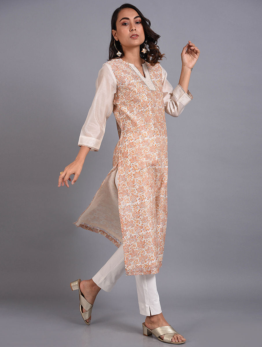 Orange and White Chanderi Hand-Block Printed Kurta Set With Dupatta