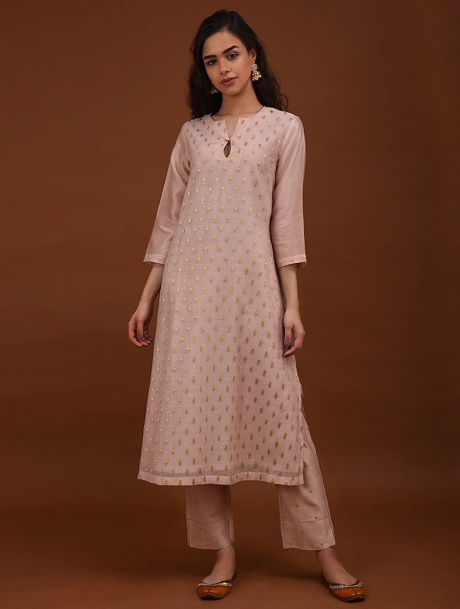 Beige Chanderi Embroidered Kurta Set