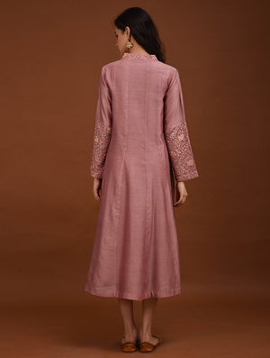 Onion Pink Chanderi Dress with embroidery detailing