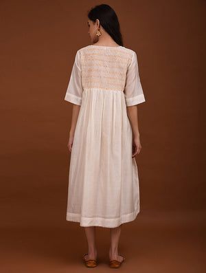 White Chanderi Handwoven Blockprinted Dress