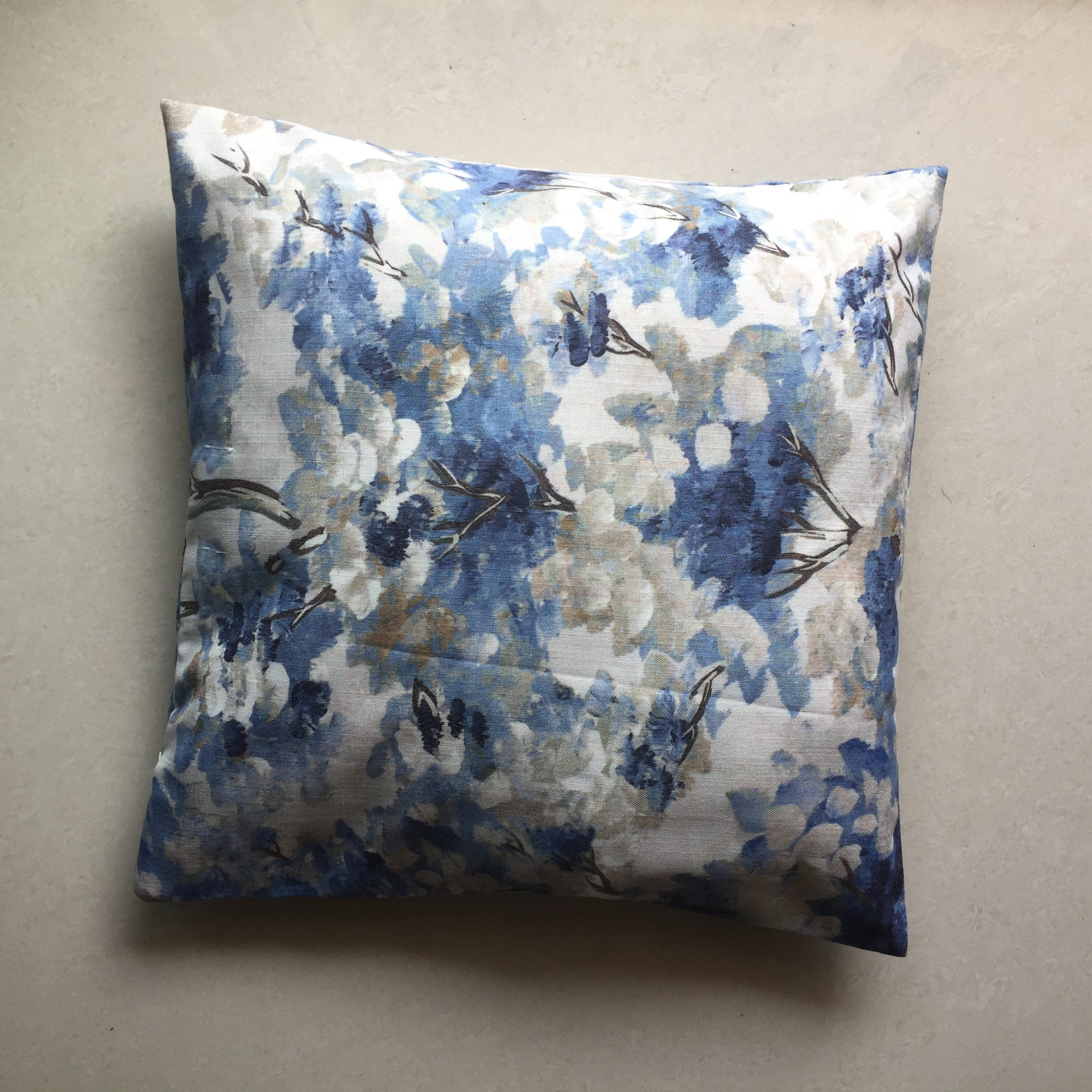 Blue and White Cotton Cushion Cover