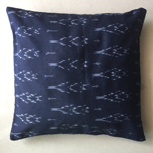 Dark Blue Ikat Handwoven Cotton Cushion Cover