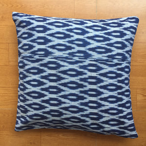 Blue and White Ikat Handwoven Cotton Cushion Cover