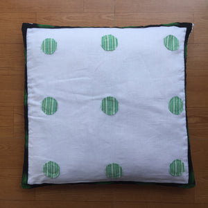 White and Green Cotton Cushion Cover with Applique Work
