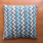 Grey Blue and White Cotton Cushion Cover
