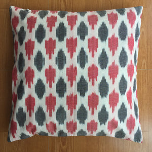 Red and Black Ikat Handwoven Cotton Cushion Cover