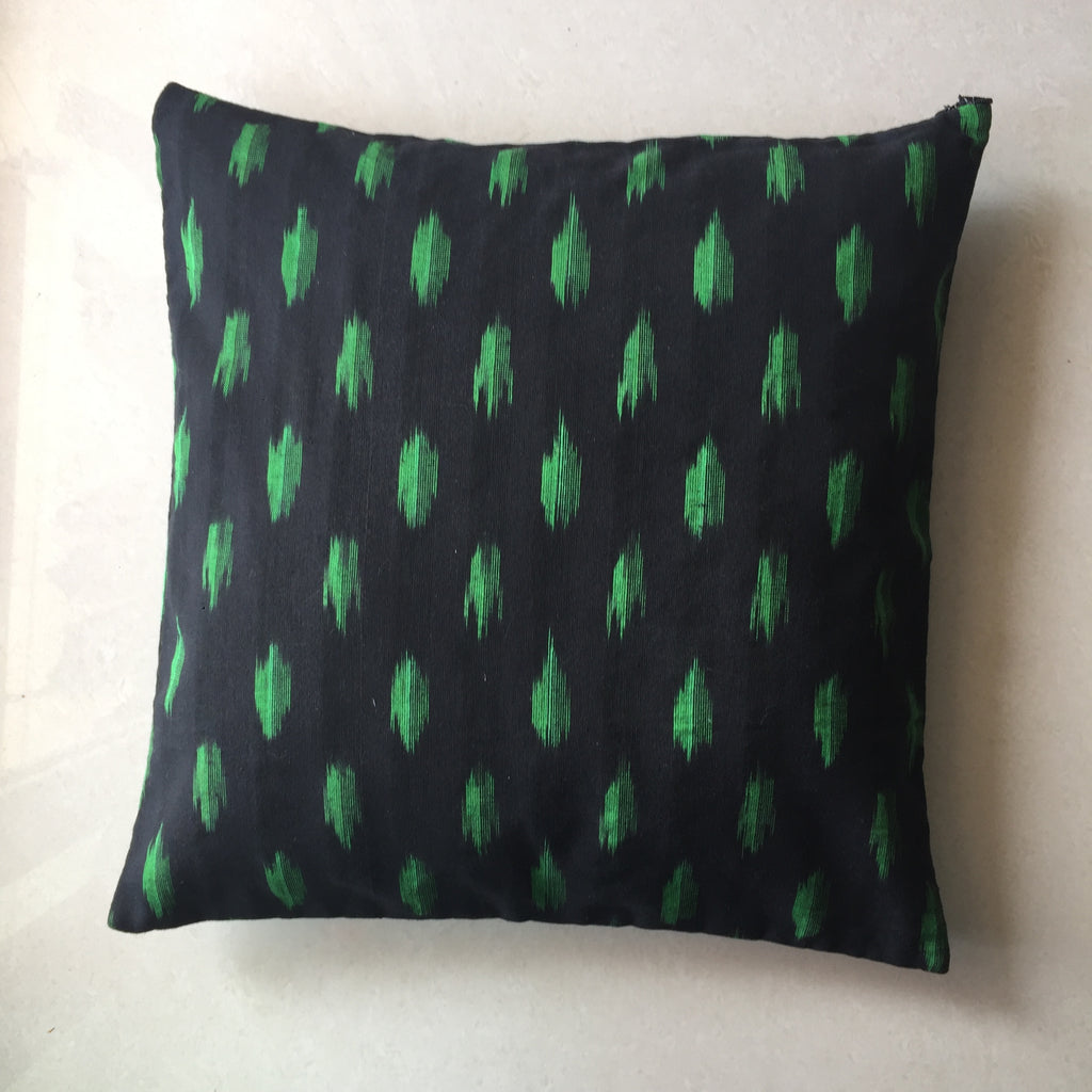 Black and Green Ikat Handwoven Cotton Cushion Cover