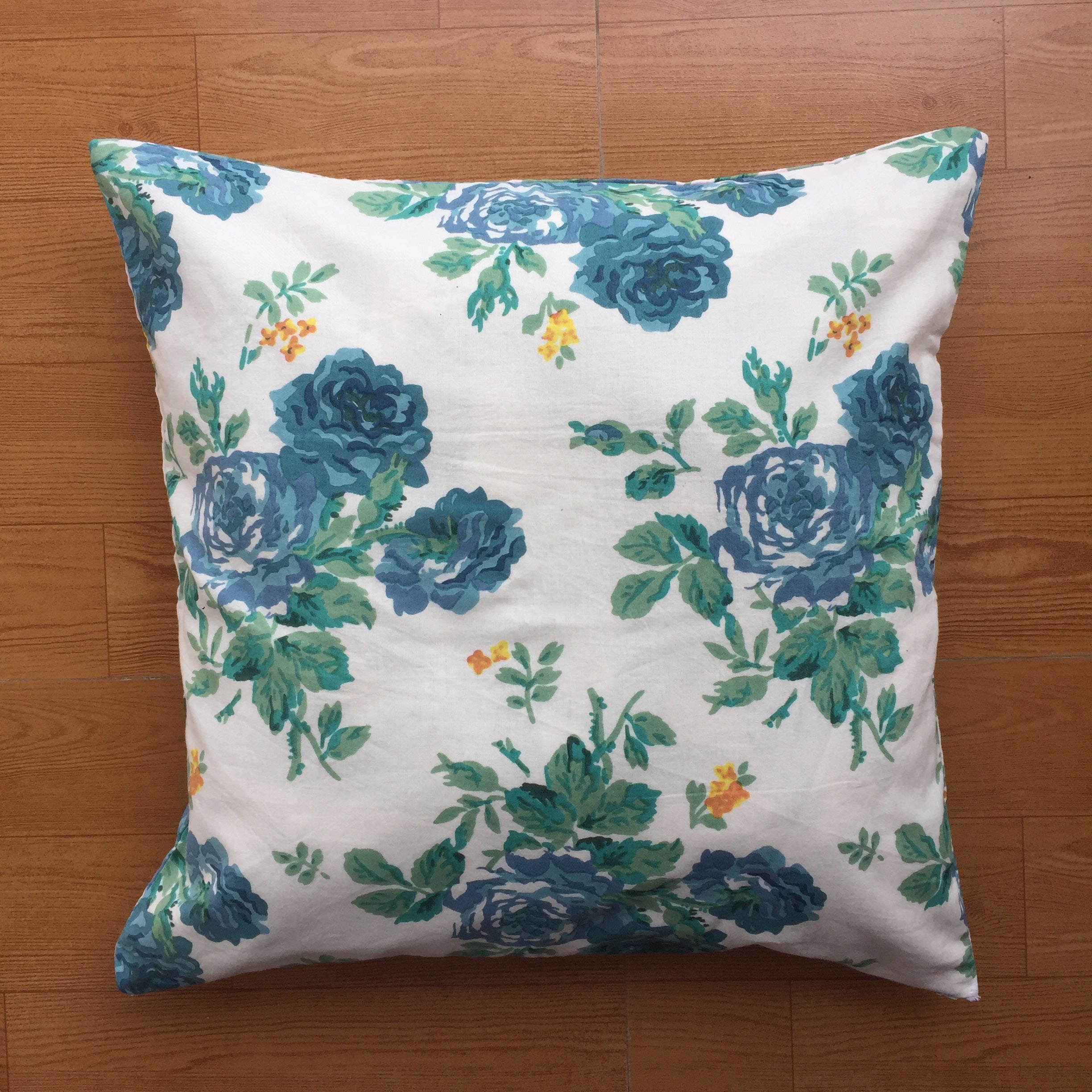 White and Blue Floral Cotton Cushion Cover