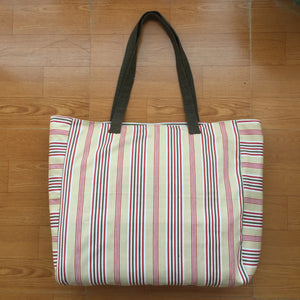 Cream Tote Bag with Red and Black Strips