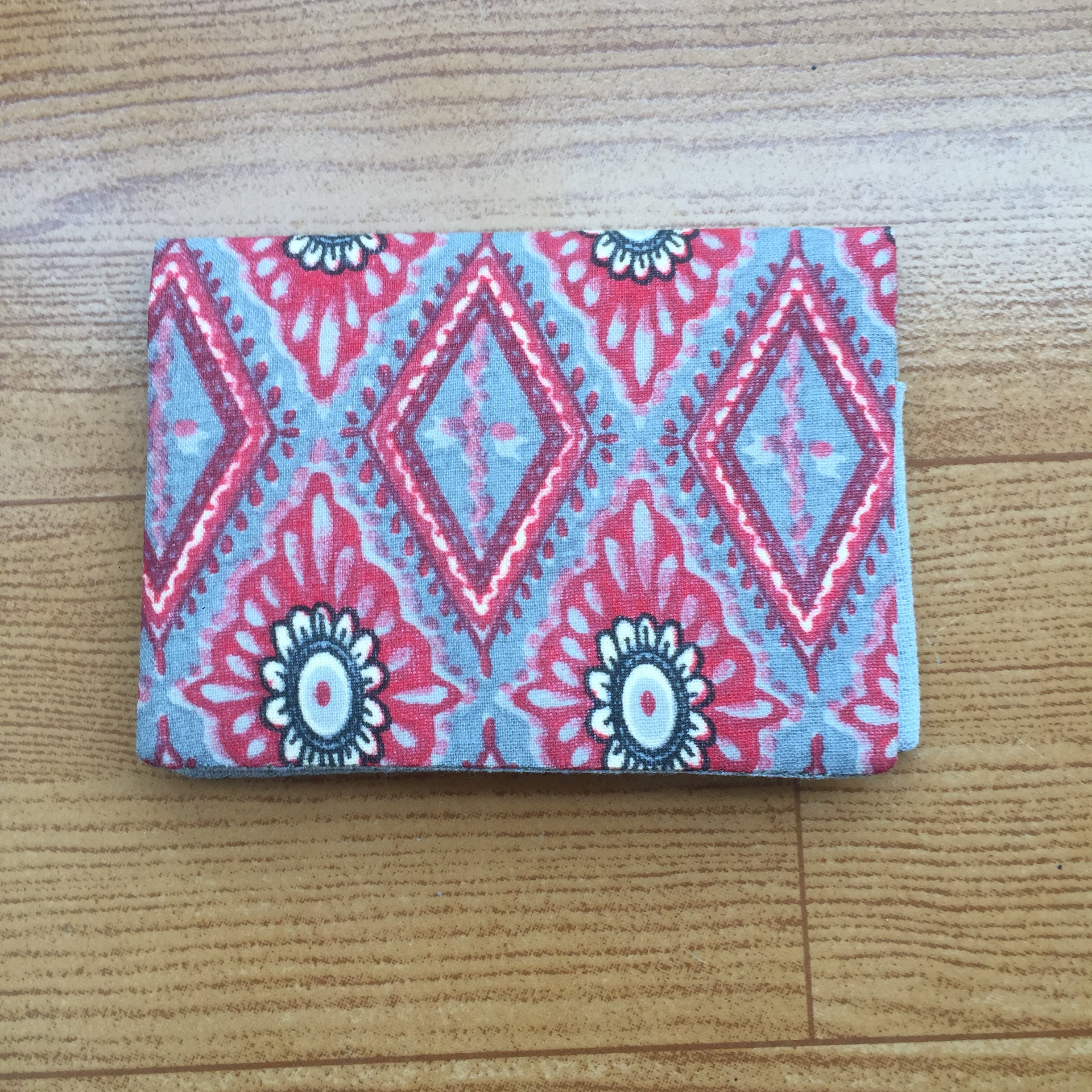 Red Block Printed Handmade Cotton Card Holder
