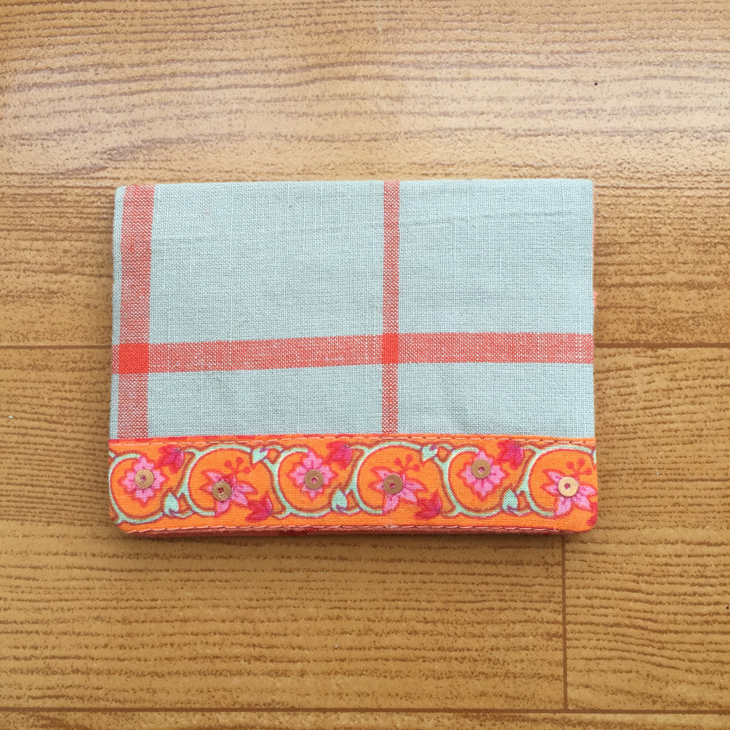 Orange & Grey Handcrafted Cotton Card Holder