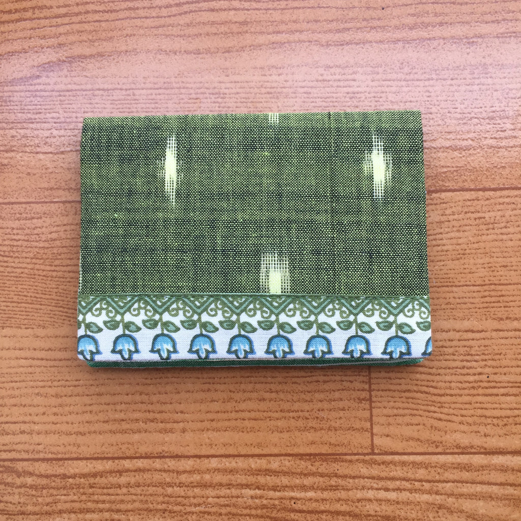 Dark Green Ikat Handwoven Cotton Card Holder