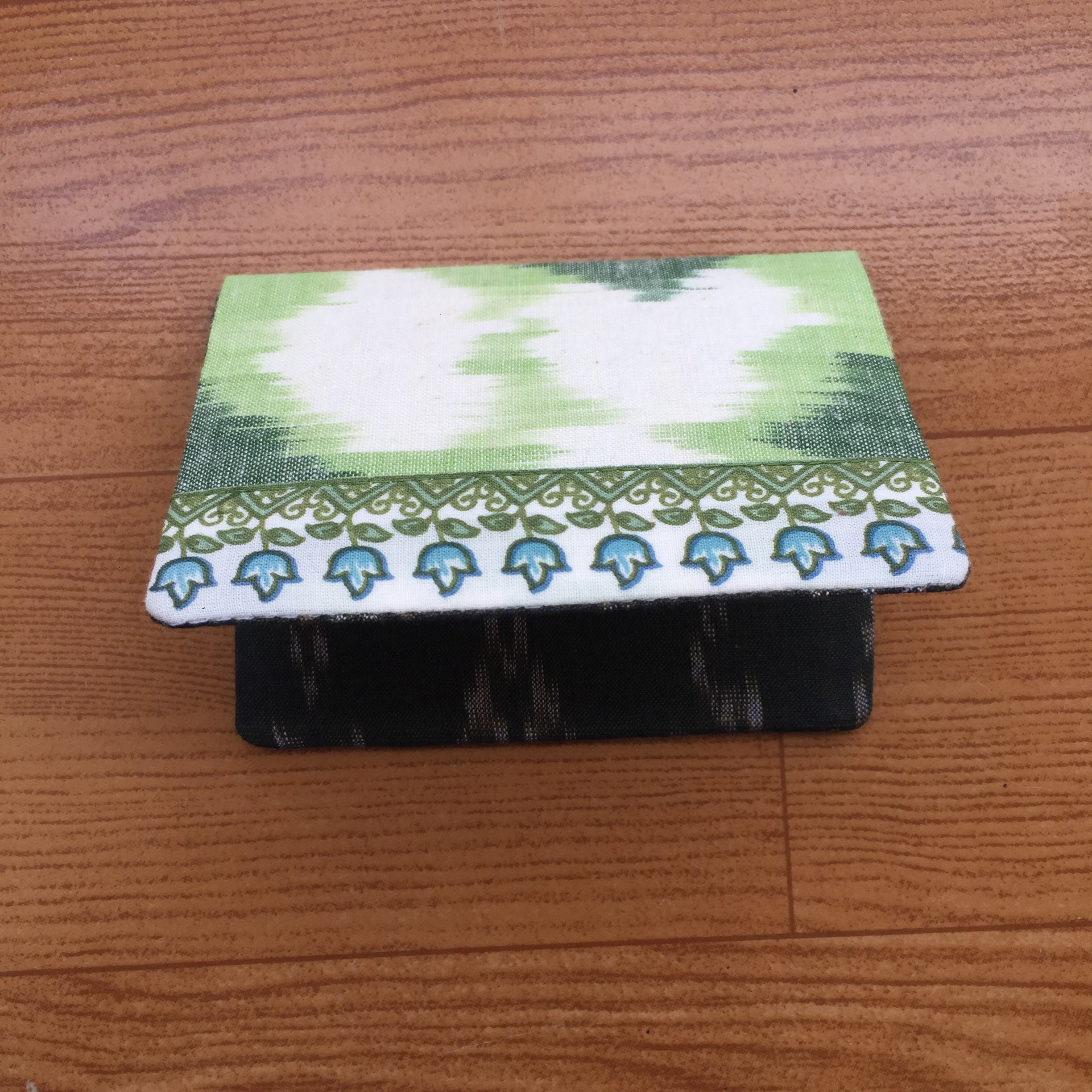 Green Ikat Handmade Cotton Card Holder
